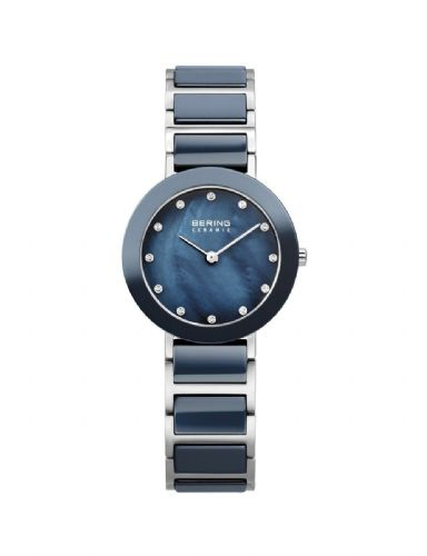 Bering Ladies Round Blue Ceramic Bracelet Watch 11429-787
